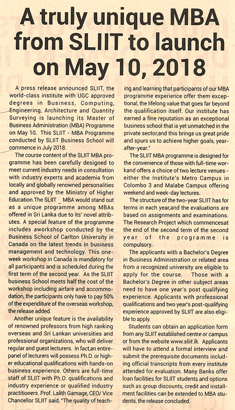 Unique MBA from sliit to launch on 10th May -SLIIT - Ceylon Today (10-04-2018)